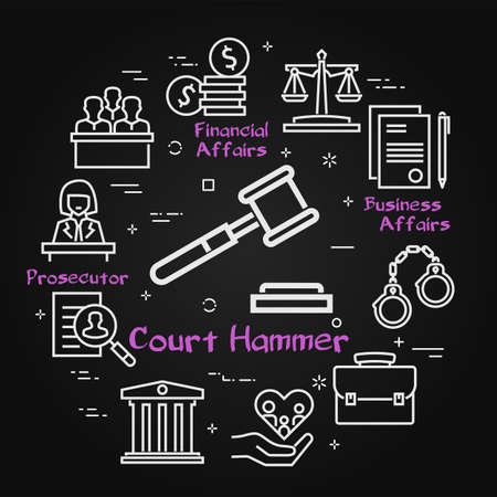 Vector black line banner of legal proceedings - court hammer icon Illustration
