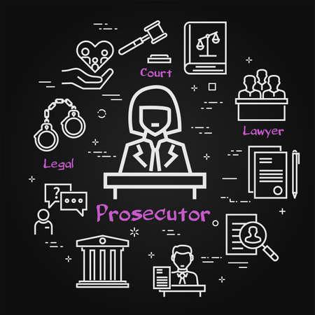Vector black line banner of legal proceedings - prosecutor icon