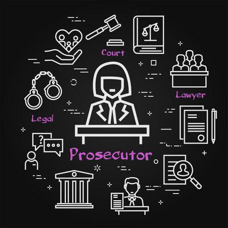 Vector black line banner of legal proceedings - prosecutor icon