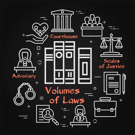 Vector black line banner of legal proceedings - volumes of law books icon