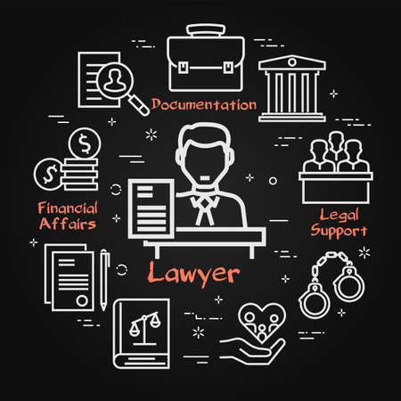 Vector black line banner of legal proceedings - lawyer man icon