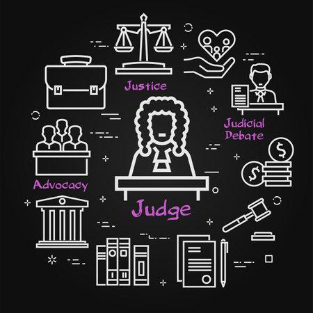 Vector black line banner of legal proceedings - judge icon Ilustrace