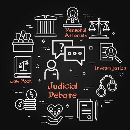 Vector black line banner of legal proceedings - judicial debate icon Illustration
