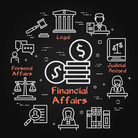 Vector black banner of legal proceedings - financial affairs icon
