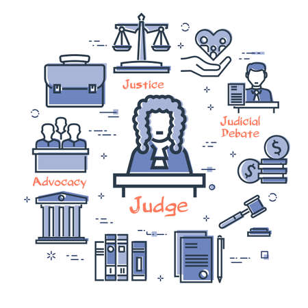 Vector line banner of legal proceedings - judge icon