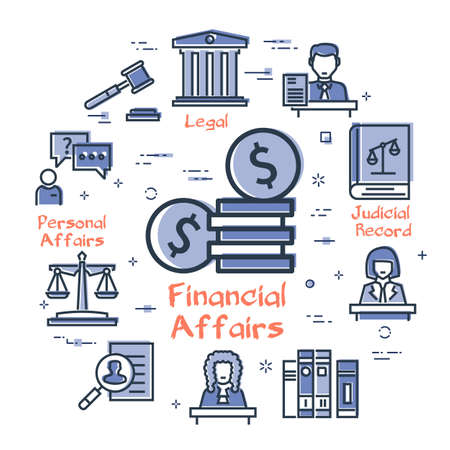 Vector line banner of legal proceedings - financial affairs icon Ilustrace