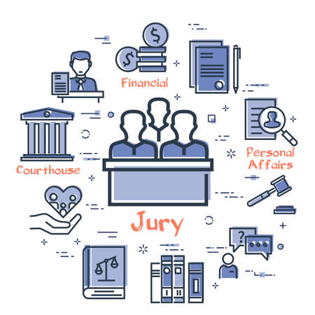 Vector line banner of legal proceedings - jury group icon