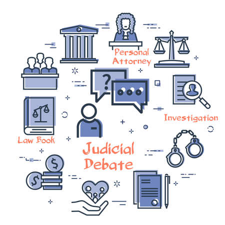 Vector line banner of legal proceedings - judicial debate icon Illustration