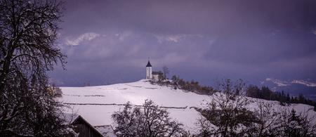 karavanke: St. Primoz church near Jamnik in the morning, Slovenia
