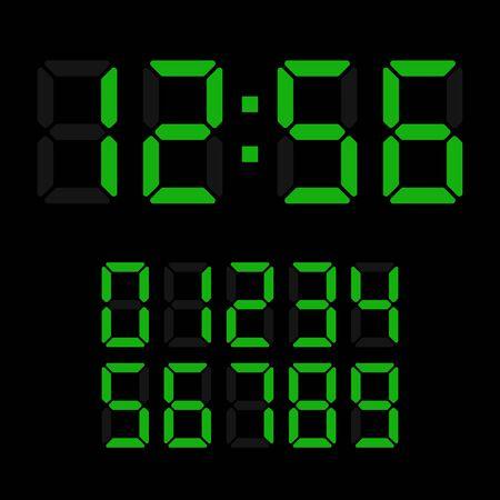 digital clock: Sample digital clock, green on a black background Illustration