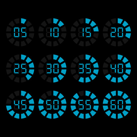countdown clock: Digital timer icons set