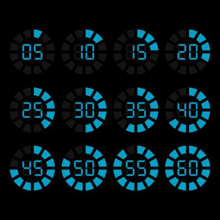 Iconos temporizador digital establecen Ilustración de vector