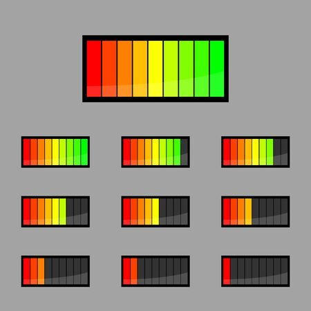 voltages: Beautiful icon set battery on a black background Illustration