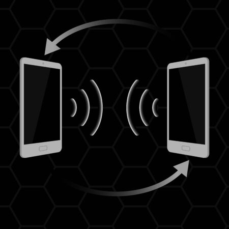 transmitting: Gray touchscreen smartphone isolated on black background. The concept of transmitting data between devices