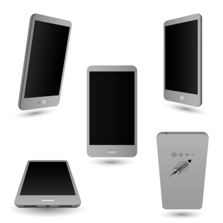 touch: Set smartphone touch screen. Gray