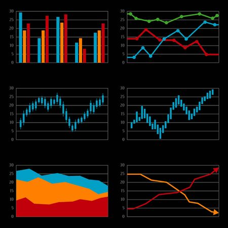 histograms: Set of histograms, black background. Vector illustration Illustration
