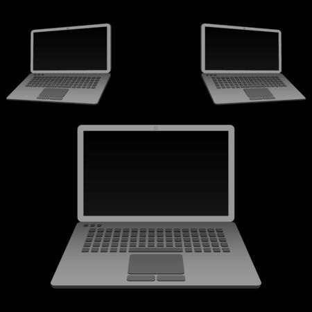 commission: Gray laptop computers, vector