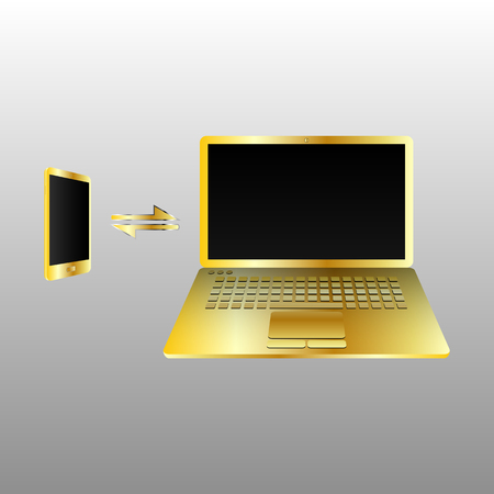 transmitting: The concept of transmitting data between devices. Laptop and phone