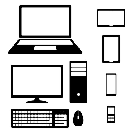 mouse pad: Device Icons: smartphone, tablet, laptop, desktop computer, phone, keyboard and mouse