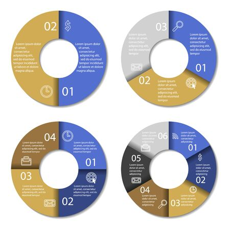 3 4: Set of round infographic diagram. Circles of 2, 3, 4, 6 elements. Vector EPS10 Illustration