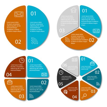 Set Of Round Infographic Diagram. Circles Of 2, 3, 4, 6 Elements ...