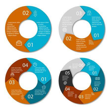 Set di diagramma infografica rotondo. Cerchi di 2, 3, 4, 6 elementi. Vector EPS10 Vettoriali