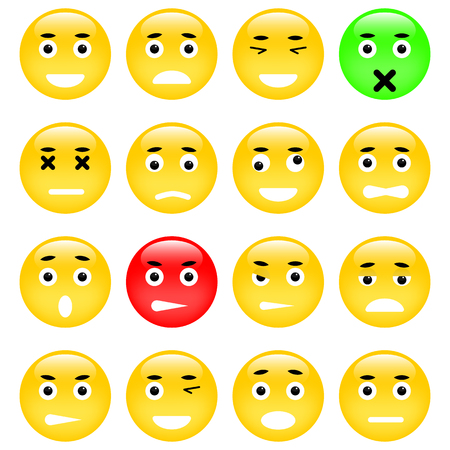 envy: Set of Emoticons. Isolated vector illustration Illustration