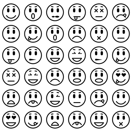 carita feliz caricatura: Conjunto de emoticonos. Conjunto de Emoji. Ilustración vectorial aislado