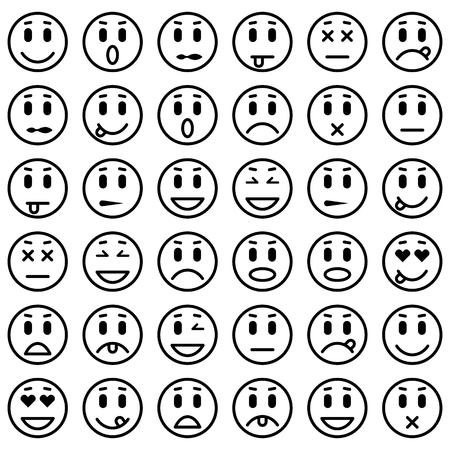 Satz von Emoticons. Set von Emoji. Isolierten Vektor-Illustration Vektorgrafik