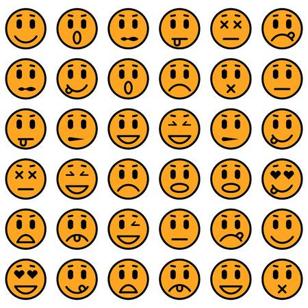 grimace: Set of Emoticons. Set of Emoji. Isolated vector illustration