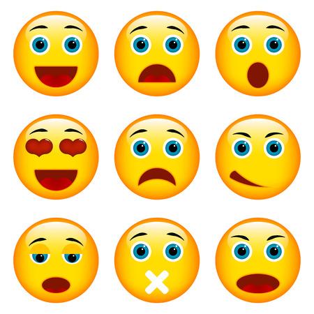 emoticon: Set of Emoticons. Set of Emoji. Isolated vector illustration