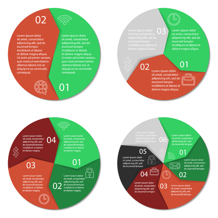 3 4: Set of round infographic diagram. Circle chart with 2, 3, 4, 6 options. Business concept. Vector eps10