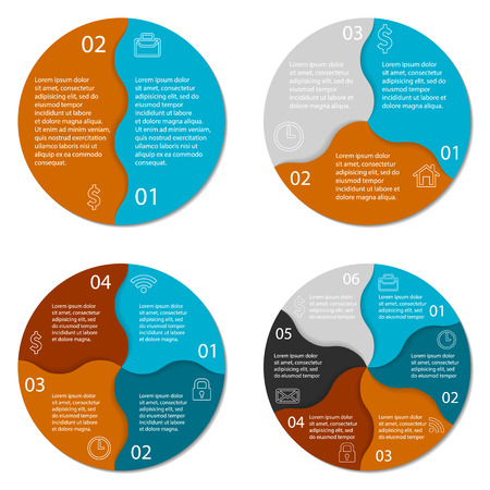 3 4: Set of round infographic diagram. Circles of 2, 3, 4, 6 options.