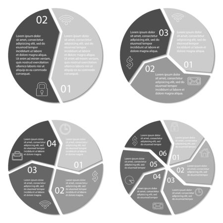3 4: Set of round infographic diagram. Circles of 2, 3, 4, 6 options. Vector EPS10