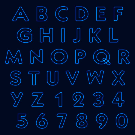 Neon light alphabet, letters and numbers. Vector illustration Illustration