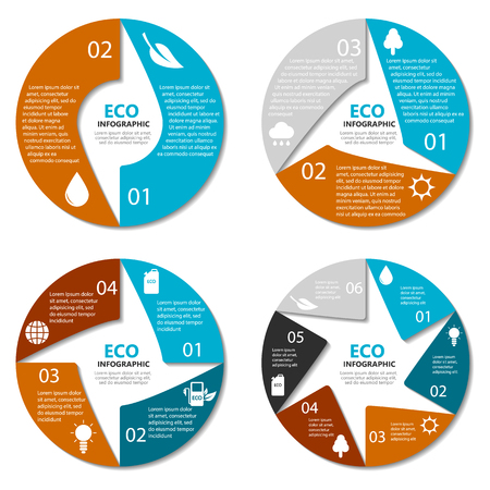 3 4: Ecology circle diagram, round infographic. Nature concept with 2, 3, 4, 6 options. Vector EPS10 Illustration