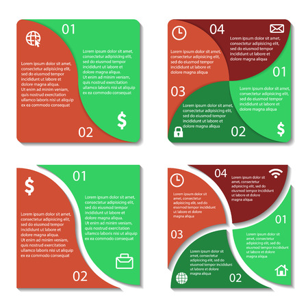 Templates square infographic diagram. 2, 4 options. Vector illustration