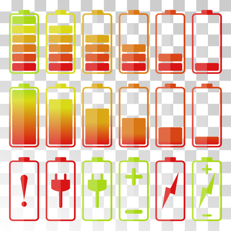 rechargeable: Battery icon set. Illustration