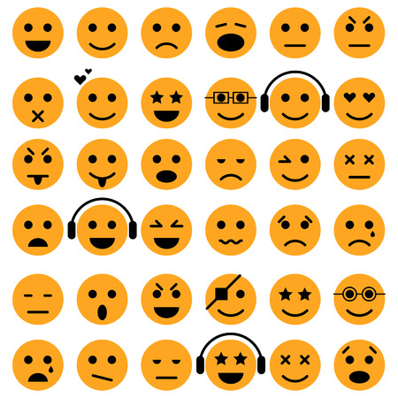 caras chistosas: Conjunto de emoticonos. iconos de Smiley. vector aislado Vectores