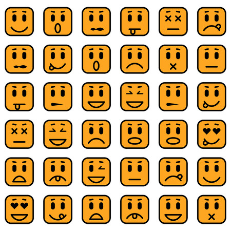 envy: Set of square emoticons. Isolated vector illustration