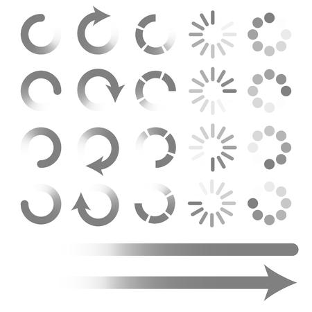 preloader: Set of loading elements. Preloaders and progress bar. Vector ePS10 Illustration