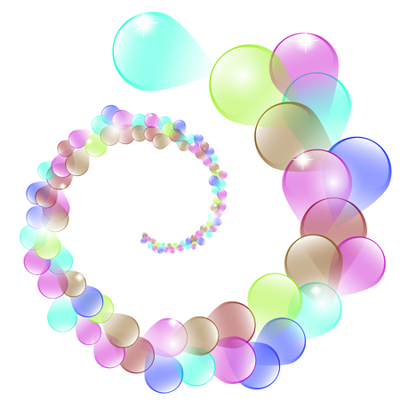 serpentine: Birthday background with colorful balloons and serpentine, vector illustration