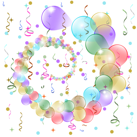 welcoming party: Birthday background with colorful balloons and serpentine, vector illustration