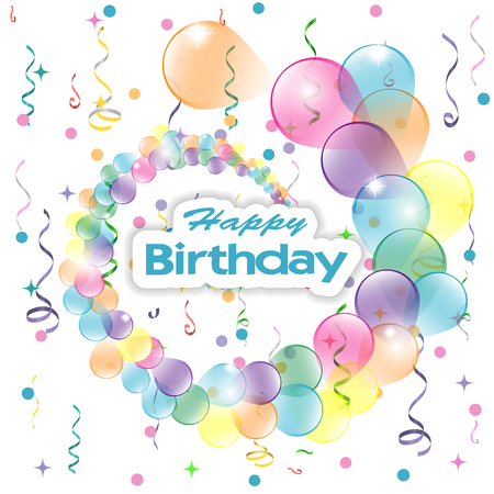 Birthday background with colorful balloons and serpentine, vector illustration