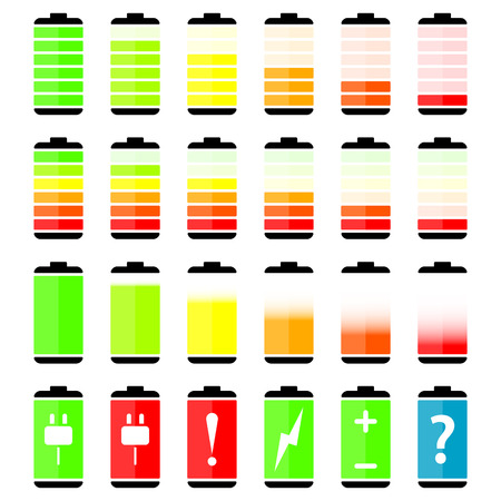 charge: Battery charge level indicator icons, vector illustration Illustration