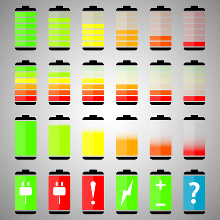rechargeable: Battery charge level indicator icons, vector illustration Illustration