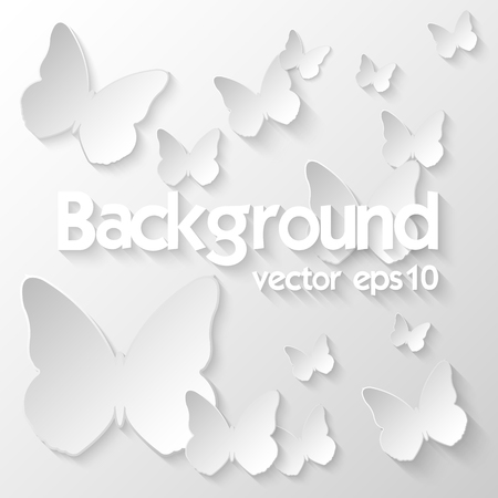 tridimensional: Background with paper butterflies, vector eps10 Illustration