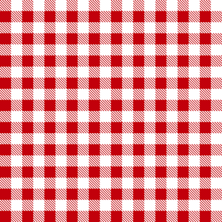 chequered drapery: Seamless red white tablecloth pattern, plaid background Illustration