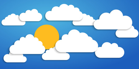 Paper clouds on a blue background. Vector illustration