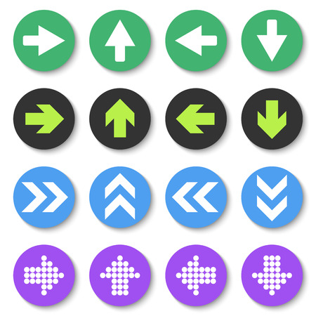 satin round: Arrow sign icon set. Flat style.